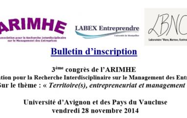 3eme colloque de l'ARIMHE: Territoire(s), Entrepreneuriat et Management – le vendredi 28 novembre Université d'Avignon