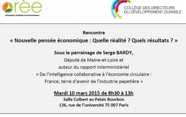Rencontre C3D & ORÉE «Nouvelle pensée économique : Quelle réalité ? Quels résultats ?» – Paris le 10 mars