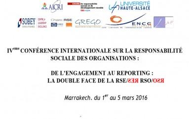IVème Conférence sur la Responsabilité Sociale des Organisations : «De l'Engagement au Reporting : la Double Face de la RSE/ƧƎЯ RSO/OƧЯ» – Marakech du 3 au 5 mars